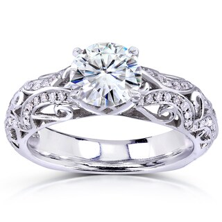Annello 14k White Gold 1 1/6ct TDW Diamond Filigree Square Shank Engagement Ring (H-I, I1-I2)