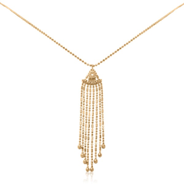 10K Yellow Gold Beaded Drape Strand Necklace
