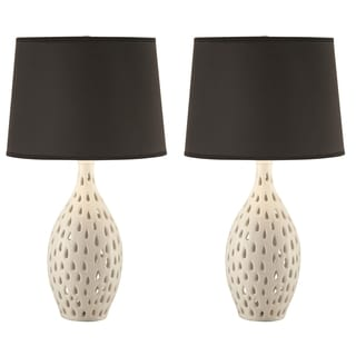 Unique Style Cut Out Base Table Lamp with Black Shade (Set of 2)
