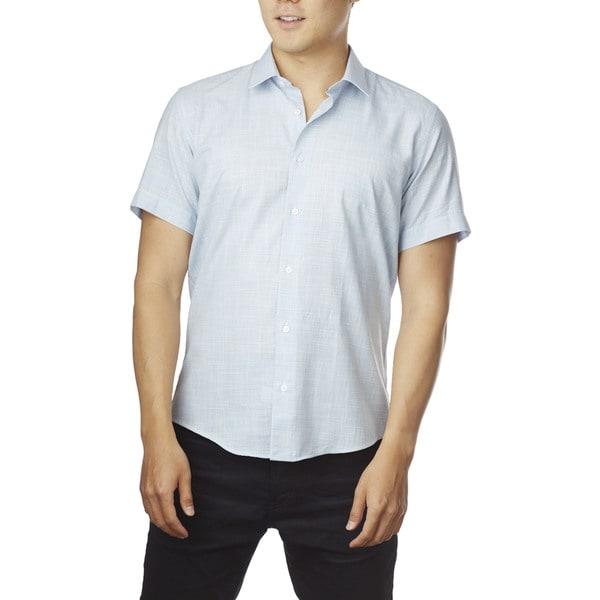 Decaprio Men's Short Sleeve Light Blue Button-Down Shirt