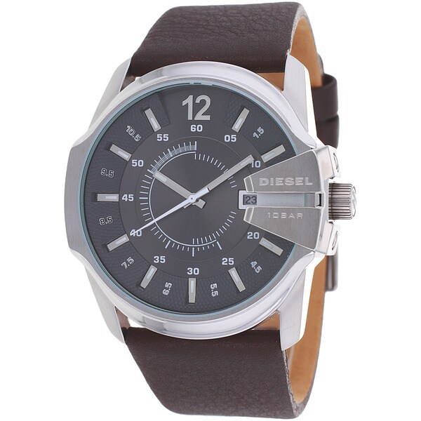 Diesel Men's DZ1206 Not So Basic Round Brown Leather Strap Watch