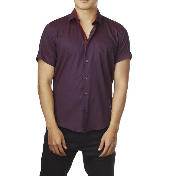 Decaprio Men's Short Sleeve Purple Polka Dot Button-Down Shirt