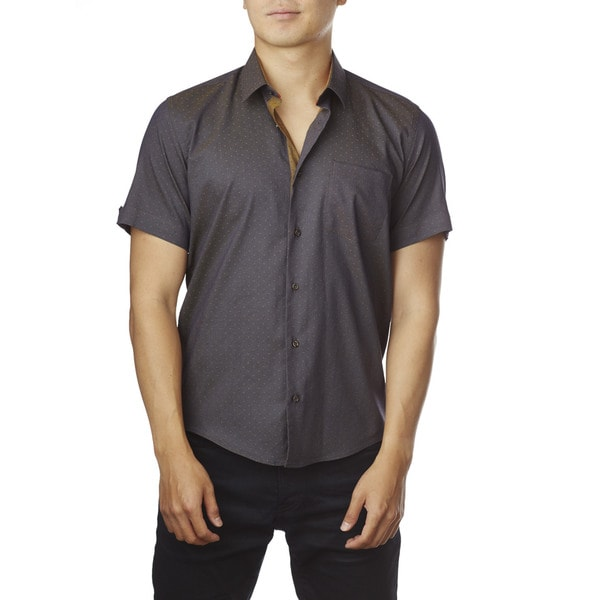 Decaprio Men's Short Sleeve Dark Purple Dot Button-Down Shirt