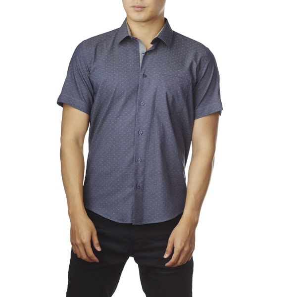 Decaprio Men's Short Sleeve Grey Polka Dot Button-Down Shirt