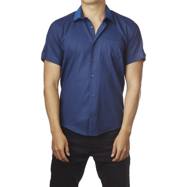 Decaprio Men's Short Sleeve Royal Blue Polka Dot Button-Down Shirt