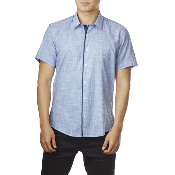 Decaprio Men's Short Sleeve Light Zara Blue Plaid Button-Down Shirt