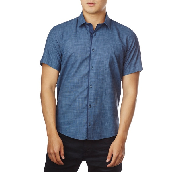 Decaprio Men's Short Sleeve Zara Blue Button-Down Shirt