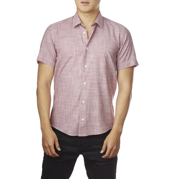 Decaprio Men's Short Sleeve Zara Red Button-Down Shirt