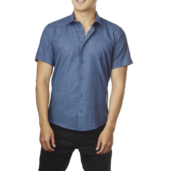 Decaprio Men's Short Sleeve Zara Navy Blue Button-Down Shirt