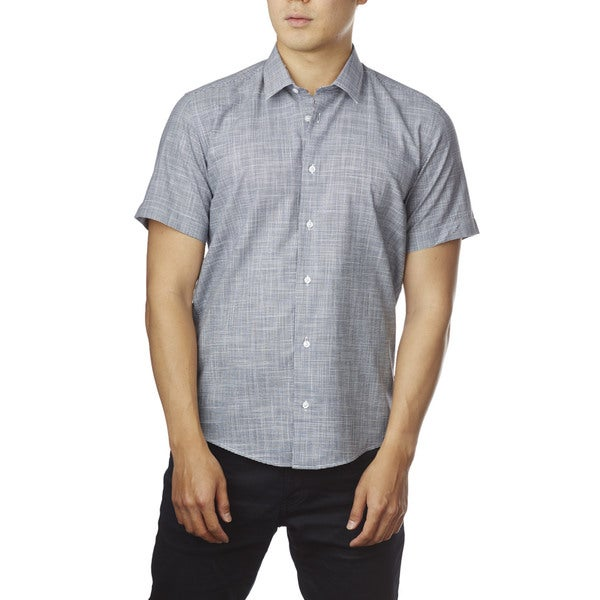 Decaprio Men's Short Sleeve White/ Navy Button-Down Shirt