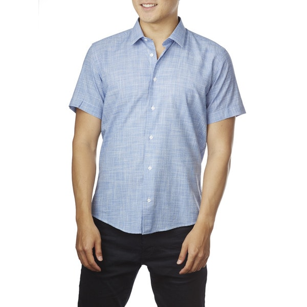 Decaprio Men's Short Sleeve White/ Navy Trim Button-Down Shirt