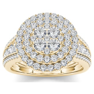 De Couer 10k Yellow Gold 1 1/2ct TDW Diamond Double Halo Ring (H-I, I2)