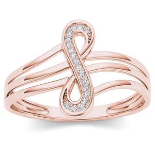 De Couer 10k Rose Gold 1/20ct TDW Diamond Infinity Loop Ring (H-I, I2)