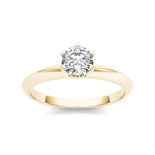 De Couer 14k Yellow Gold 7/8ct TDW Diamond Classic Engagement Ring (H-I, I2)