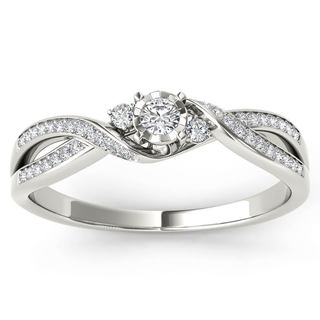 De couer 10k White Gold 1/6ct TDW Diamond Criss-Cross Engagement Ring (H-I, I2)