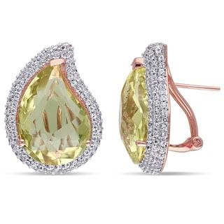 Miadora Rose Plated Silver White Topaz and Lemon Quartz Earrings