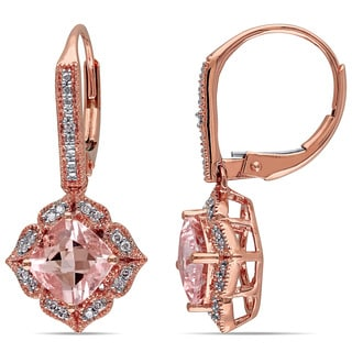 Miadora 10k Rose Gold Morganite and 1/10ct TDW Diamond Earrings (G-H, I2-I3) (GCAL)