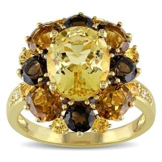 Miadora Yellow Silver Multi-gemstone and Diamond Accent Cocktail Ring