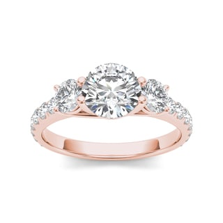 De Couer 14k Rose Gold 2ct TDW Diamond Three-Stone Anniversary Ring (H-I, I2)