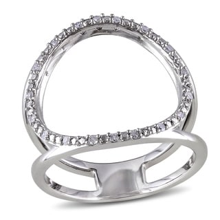 Haylee Jewels Sterling Silver Open Circle Diamond Ring (G-H, I2-I3)