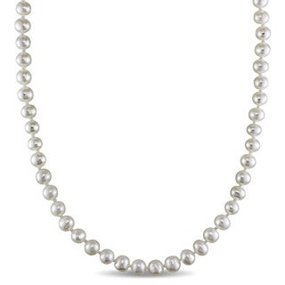 Miadora Sterling Silver Freshwater White Pearl Strand Necklace