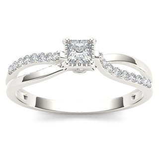 De Couer 10k White Gold 1/4ct TDW Diamond Split-Shank Engagement Ring (H-I, I2)