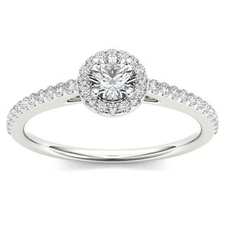 De Couer 14k White Gold 1/2ct TDW Diamond Halo Engagement Ring (H-I, I2)