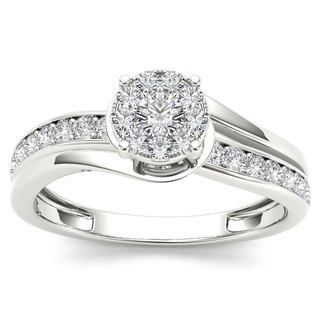De Couer 10k White Gold 3/8ct TDW Diamond Bypass Cluster Engagement Ring (H-I, I2)