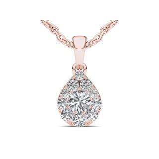 De Couer 10k Rose Gold 1/2ct TDW Diamond Cluster Pendant (H-I, I2)