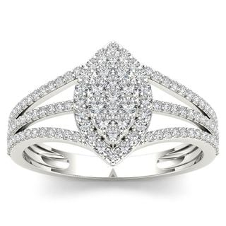 De Couer 10k White Gold 1/2ct TDW Diamond Marquise-Framed Cluster Engagement Ring (H-I, I2)