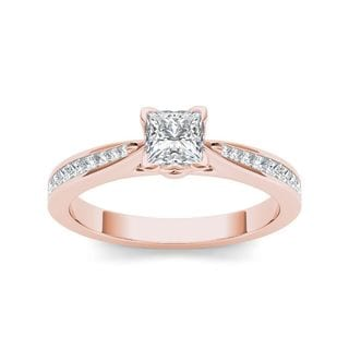 De Couer 14k Rose Gold 1 1/4ct TDW Diamond Classic Engagement Ring (H-I, I2)