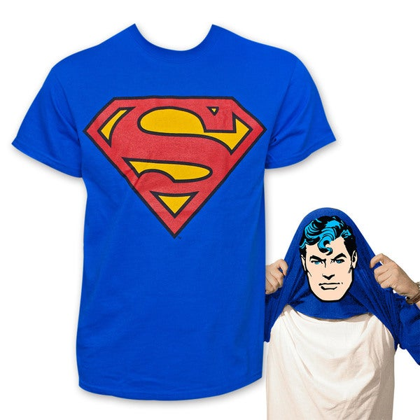 Men's Blue Superman Face Flip-Up Reversible T-Shirt