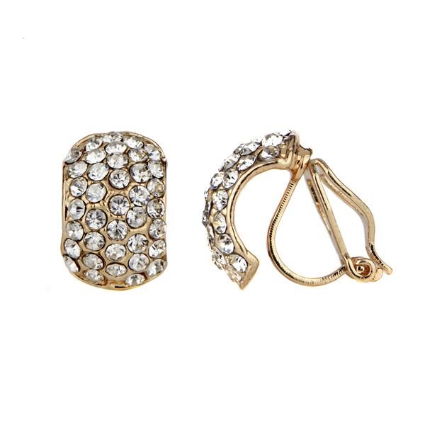 Rhinestone Half Hoop Clip On Earrings