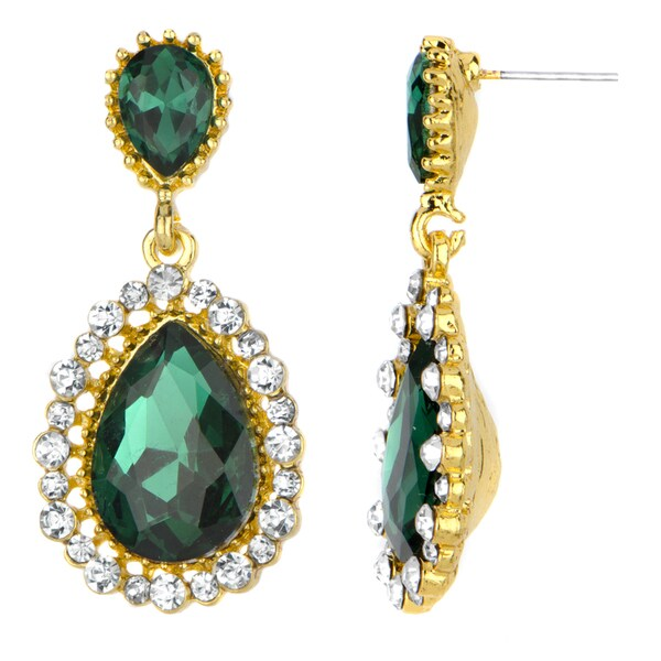 Green Pear Drop Earrings
