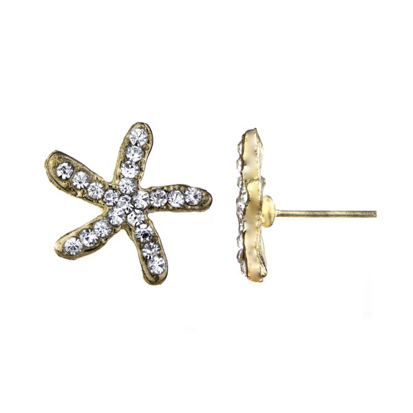 Rhinestone Starfish Stud Earrings