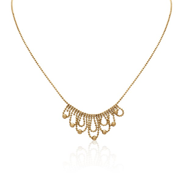 Gioelli 10k Yellow Gold 22mm Beaded Bib Necklace