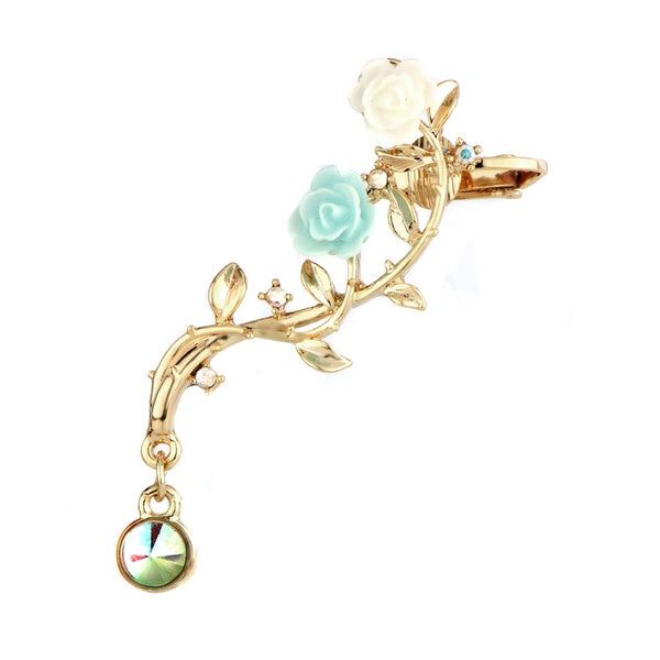 Blue Rose Ear Cuff