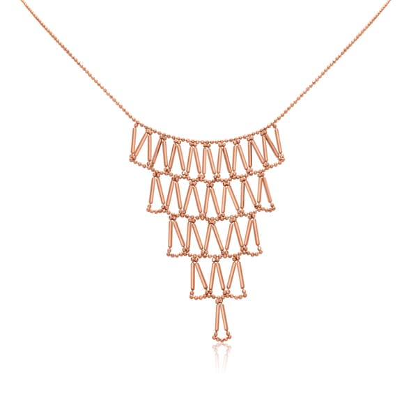 Gioelli 10k Rose Gold Inverted Pyramid Bib Necklace
