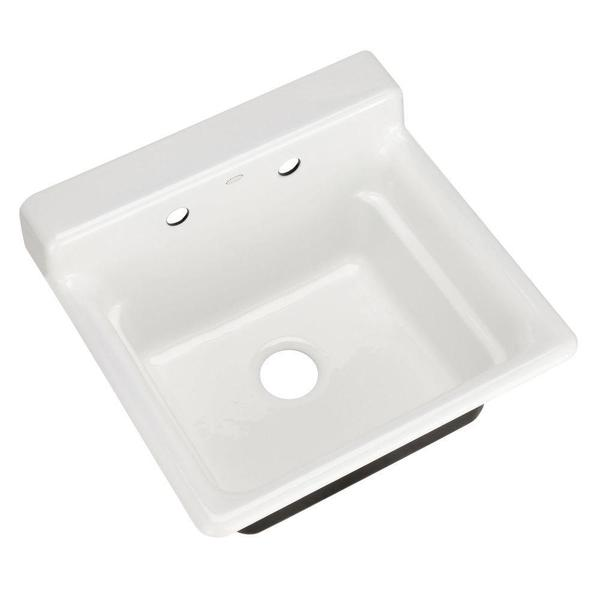 Kohler Bayview Top-Mount Cast Iron 25.5 x 24 x 18.625 2-hole Utility ...