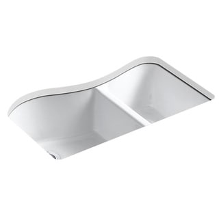 Kohler Lawnfield Undermount Cast Iron 33 inch 4-hole Double Bowl Kitchen Sink in White