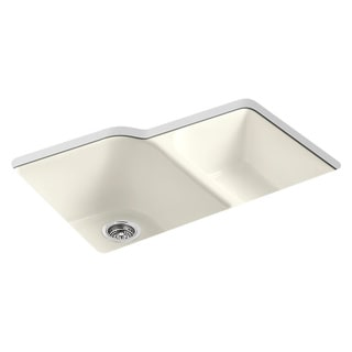 Kohler Executive Chef Undermount Cast Iron 33 inch 4-hole Double Bowl Kitchen Sink in Biscuit