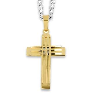 Men's Stainless Steel Grooved Layer Cross Pendant