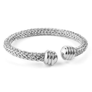 Women's Stainless Steel Intricate Cable Knobbed End Cuff Bracelet