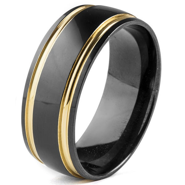 Men's Blackplated Stainless Steel with Goldplated Edges Comfort Fit Ring - Black 15860446