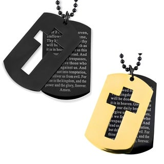 Men's Blackplated Stainless Steel Cross and 'Lord's Prayer' Double Dog Tag Pendant
