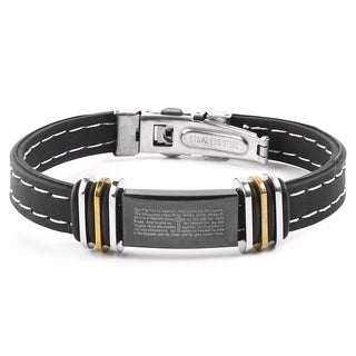Men's Two-Tone Stainless Steel Lord's Prayer ID Plate Rubber Bracelet