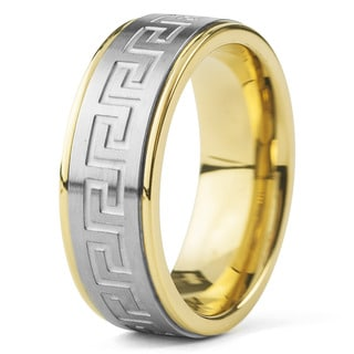 Crucible Goldplated Stainless Steel Silvertone Greek Key Band Ring