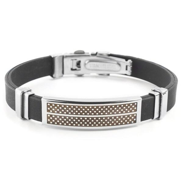 Men's Stainless Steel Checkered Rubber ID Bracelet 15860496