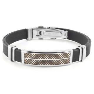 Men's Stainless Steel Checkered Rubber ID Bracelet