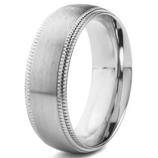 Crucible Stainless Steel Brushed Finish with Milgrain Edge Ring